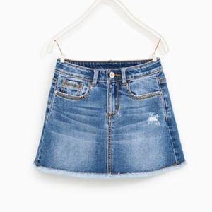 Zara Girls Denim Jean Skirt Blue Size 9 134 cm